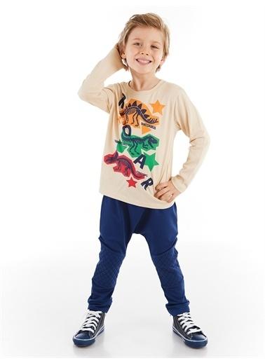 Denokids Renkli Dinolar Erkek Çocuk Pantolon Takım Renkli